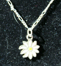 "Sterling Silver Chain White Yellow Enamel Daisy Flower Pendant Necklace 14""  #D4"