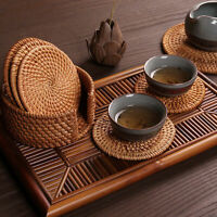 6Pcs/Set Tableware Drink Coasters Set Round Placemat Dish Mat Rattan Weave Pad E