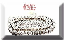 (O-Ring) Drive Chain Chrome Plated 530 x120 Link For Harley Honda  Chopper &