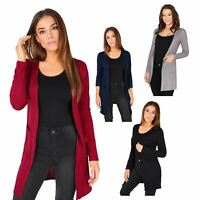 Womens Ladies Open Front Top Cardigan Long Sleeve Jersey Pockets Plain Basic