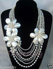 7 Row  Natural  FW Pearl  MOP shell crystal flower necklace Statement Necklace
