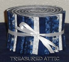 "Quilting Fabric Jelly Roll Strips 20~2.5"" Navy Blue White Cotton Quilt Fabric"