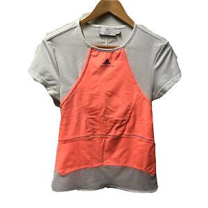 Stella McCartney For Adidas Neon Orange White Mesh Workout Top Cutout Back 40