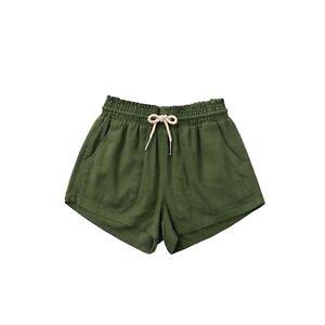 Basic Linen Pocket Drawstring Elastic Waist Dressy Shorts Bottoms Olive S/M/L