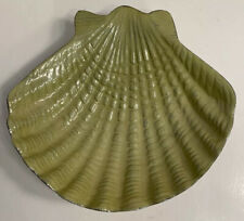 "Sea Shell Nautical Trinket Tray Candy/Soap Dish 7"" Green & Chrome-Made in India"