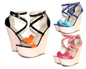 "Gt-fz-37 Fashion Wedges Party Prom Wedding 6"" High Heel 2"" Platform Women Shoes"
