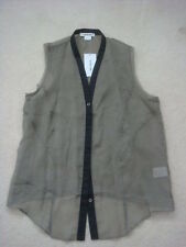 HELMUT LANG Crust Cotton Silk Blended sleeveless Button down top Large $230 NWT