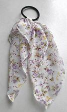 Elastique à cheveux fin tissu noeud vintage rock motif fleuris violet 1 E0012B