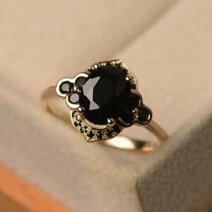 14K Yellow Gold Over 2.5 Ct Oval Cut Black Spinel Engagement Wedding Ring