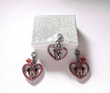 NEW Official Walt Disney World Enamel Minnie Mouse Spinning Heart Clip on Charm