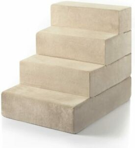 NEW Large Zinus Easy Comfort Pet Stairs Ramp Ladder Dog Cat Animal Steps Tan