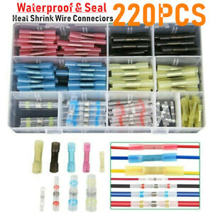 220PCS Solder Seal Sleeves Heat Shrink Butt Wire Splice Connector Crimp Terminal