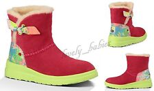 NIB UGG Red Boots Shoes Bow Paint Splatter I Heart Knotty Suede Women Sz. 6