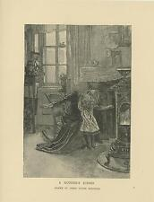 ANTIQUE VICTORIAN A MOTHER'S KISS CHILD DAUGHTER WOOD BURNING STOVE ART PRINT