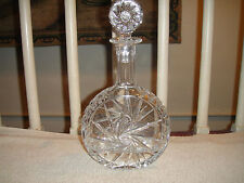 Polish Cut Glass Decanter-Amazing Cut Glass Bottle W/Stopper-Intricate Cut Stars