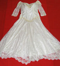 Ladies Western Wedding Dress  Lace  Fringe White Pearl  Size 14            163