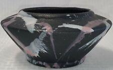 Vintage Harris Pottery 12� Black Vase W/Pink & White Glaze Splatter Design