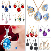 Women Heart Pendant Choker Chain Crystal Rhinestone Necklace Earring Jewelry Set