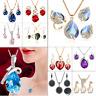 Women Heart Pendant Choker Chain Crystal Rhinestone Necklace Earring Jewelry Set
