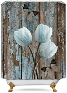 Rustic Beige Blue Tulip Butterfly Wood Country Farmhouse Fabric Shower Curtain