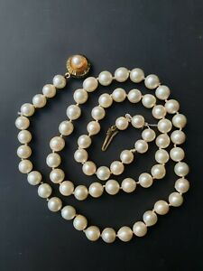 Freshwater or Akoya saltwater pearls necklace with 14k yellow gold clasp by JKa