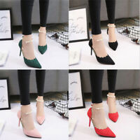 Women Wedding Sexy Ankle Beading Pointed 8cm High Heels Shoes XE
