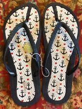 Capelli Red White Blue Nautical Sparkly Flip Flops Size 9 Comfort Insole NEW