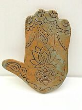 HAMSA hand carved clay wall hanging with lotus flower