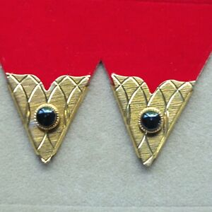 Collar Tips Gold Metal Black Accent 4prs Made in USA Western Square Dance Cowboy