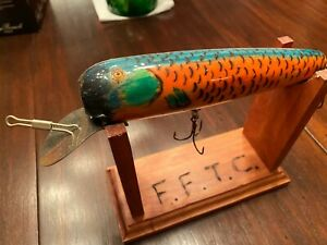 Funny Farm Tackles FOLK ART wood fishing lure w/stand wood  burned - Glass Eyes