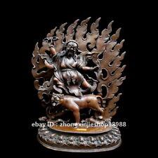 china Tibet Pure bronze Padmasambhava Vajrapani buddha  Riding Tiger Statue
