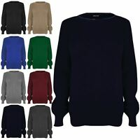 Kids Unisex Girls Chunky Knit Oversized Baggy Long Sleeve Round Neck Jumper Top