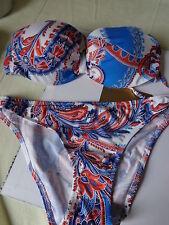 Bandeau push up Bikini 38B/M blau weiss rot von JOLIDON   NEU