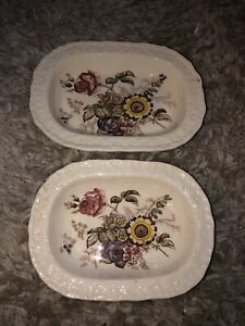 2 Mason's Friarswood Oval Serving Bowls