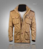 60% off New Mens Safari Jacket Parka +faux leather shoulder patch Medium M