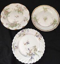"""Vintage Haviland Limoges Small Flowered Plates Set Of 3 6.5"""" Gold Trim Orsay"""