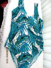 """matalan"" ladies size 16 bathing costume green blue and white pattern"