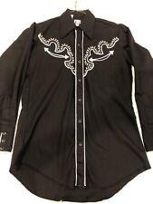 Vintage KARMAN Cowboy Western Snap Button Black Dress Shirt 15.5/33 Men's