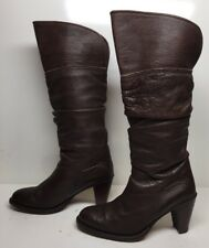 WOMENS FRYE RIDING LEATHER DARK BROWN BOOTS SIZE 8 M