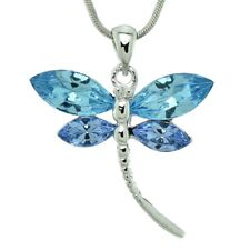 Dragonfly W Swarovski Crystal Blue Sky Topaz Color Wings Pendant Necklace Gift