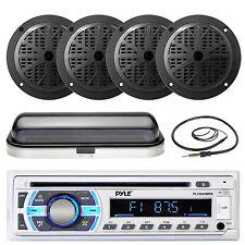 "5.25"" Marine Black Speakers, Pyle Bluetooth USB AUX Radio, Cover, Radio Antenna"