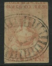 VICTORIA, USED, #1a, DULL ORANGE, GREAT CANCEL, NICE CENTERING
