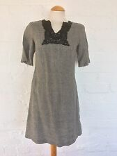 Sticky Fingers vestido, la túnica-Ropa de cama, Negro/gris, Cuadros Manga Corta-Talle 10