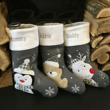 Personalised Luxury Embroidered Xmas Stocking Christmas Sack Grey Modern Sock