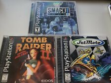 Tomb Raider 2, JetMoto, WWF Smackdown PS1 Lot good / fair condition untested