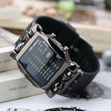 New Unisex Square Style Cool Colorful LED Digital Watch Binary Wrist Black AU