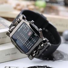 New Unisex Square Style Cool Colorful LED Digital Watch Binary Wrist Black FK