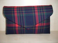 OVER SIZED tartan check navy blue, red, green & gold envelope clutch bag, BN