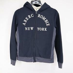 Kid Boys Abercrombie & Fitch A&F Blue Hoodie Jacket Size 15/16 Full Zip Casual
