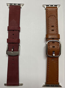Lot Of 2 Platinum Genuine Leather Band For Apple Watch 38mm 40mm